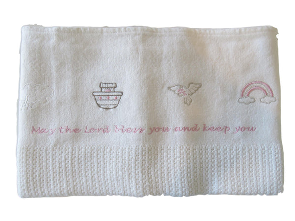 Noah Ark Biblical Symbols with Hebrew Blessing - Cellular Receiving Blanket