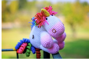 Hand crocheted animal - unicorn
