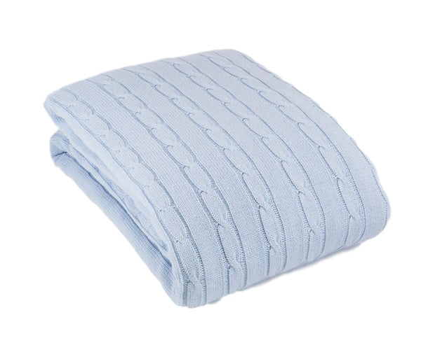 Toddler Cot or Single Bed Cable Blanket 100x150cm - 6 Colours