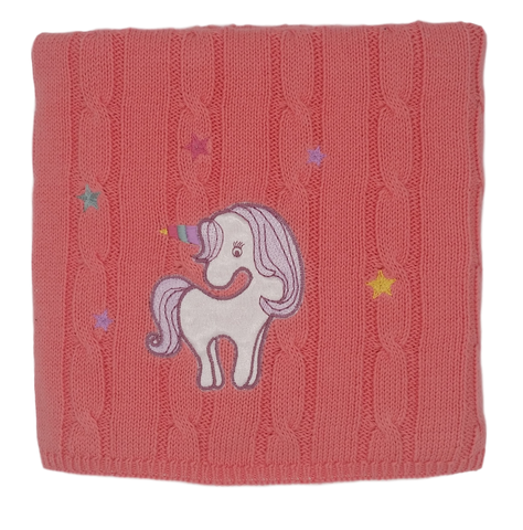 Applique Unicorn Cotton Cable Stroller Blanket