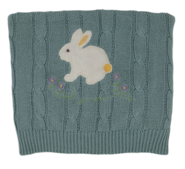 """snuggle me"" Bunny Appliqué on Cable Knit Baby Blanket"
