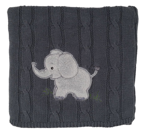 """snuggle me"" Elephant - Cable Knit Baby Blanket"