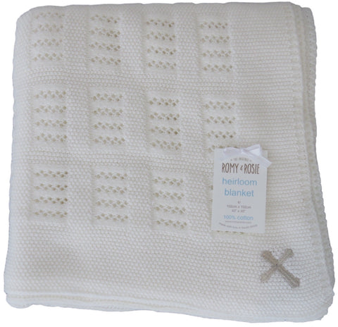 Christening Heirloom Knit - Receiving Blanket with Silver Cross Detail