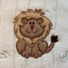 Adorable Fluffy Appliqué Baby Lion - Cable Knit Baby Blanket