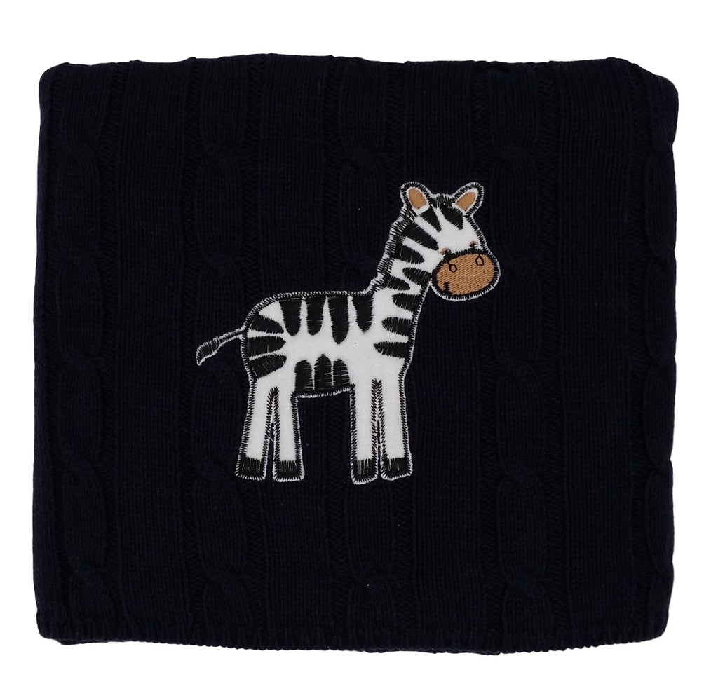 """snuggle me"" Zebra - Cable Knit Baby Blanket"