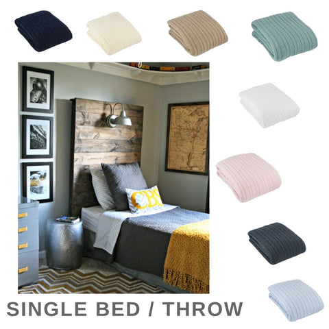 Single Bed Cable Throw 100x150cm - 9 colours avail.