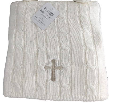 Christening - White Cable Blanket with Silver Cross