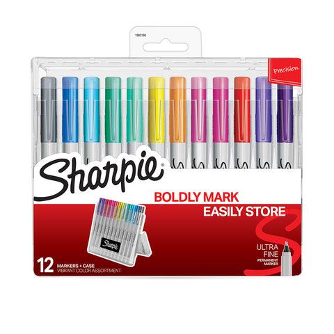 Sharpie Ultra Fine Thin Markers Variety Pack of 12 in Hard Reusable Case  Sharpie Markers