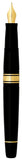 Waterman Charleston Ebony Black 18 KT Gold Fine Nib Fountain Pen Gold Trim  with Converter  Waterman Fountain Pens
