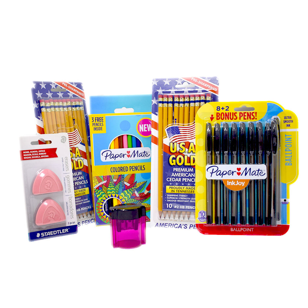 Back To School Combo Deal, Pens, Pencils, Erasers and Pink Sharpener 48 Pc  Paper Mate Pencil