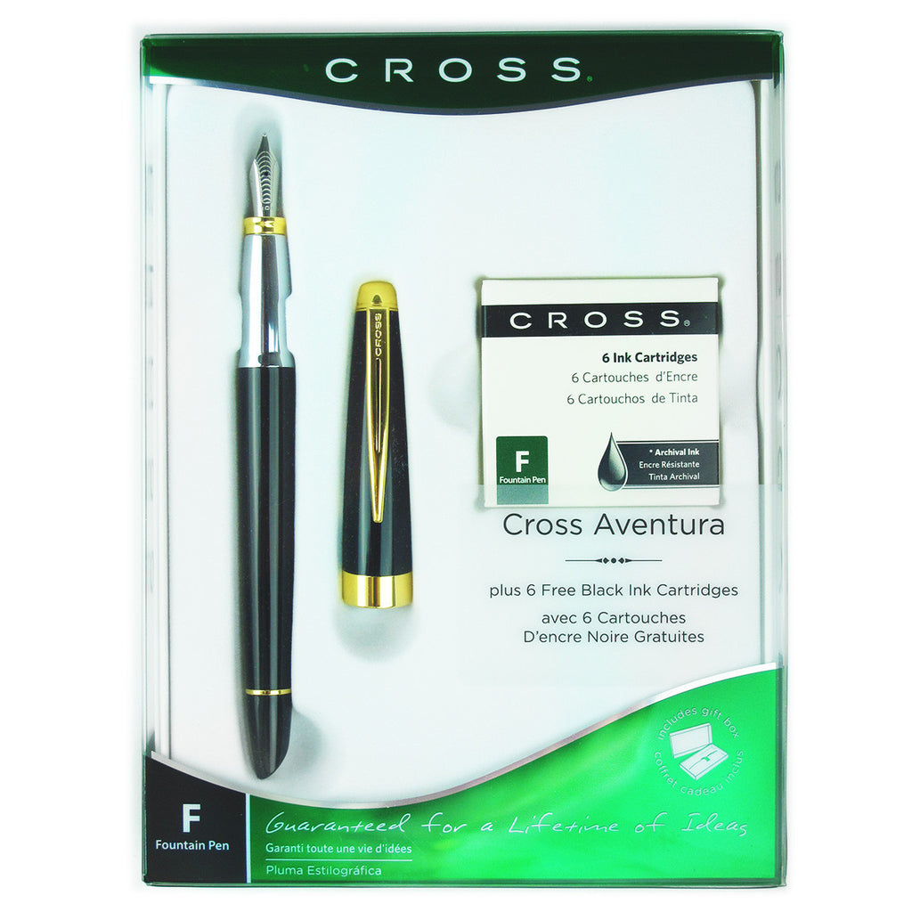 Cross Aventura Black Lacquer Gold Trim Fountain Pen Medium with 6 Ink Cartridges Gift Set