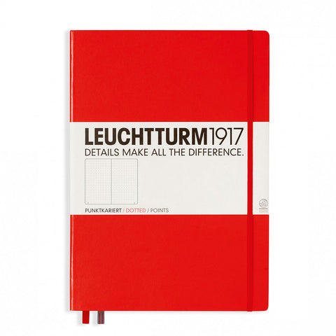 Leuchtturm 1917 Dotted Notebook Master (A4+) Hardcover 233 Numbered Pages, Red  Leuchtturm1917 Notebook