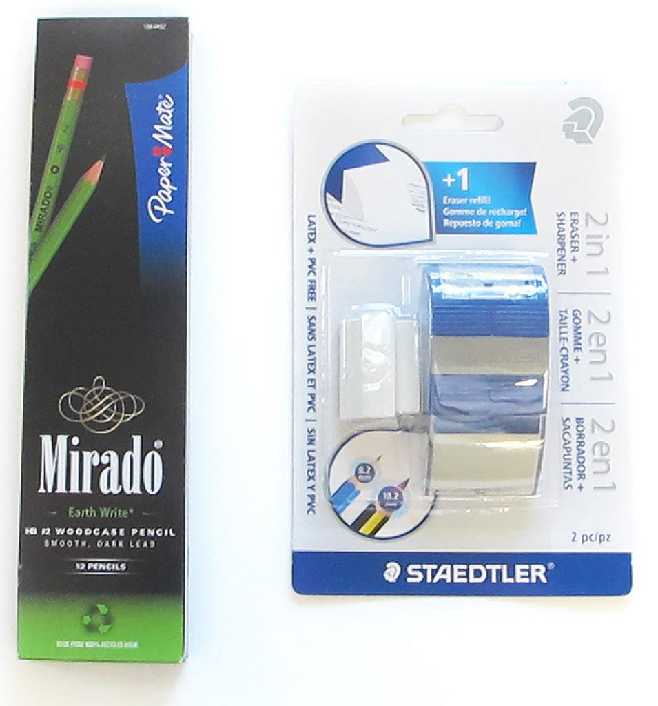 Paper Mate Mirado Earth Write 12 Pencils + Staedtler 2 in 1 2 Hole Eraser - Sharpener  Paper Mate Pencil