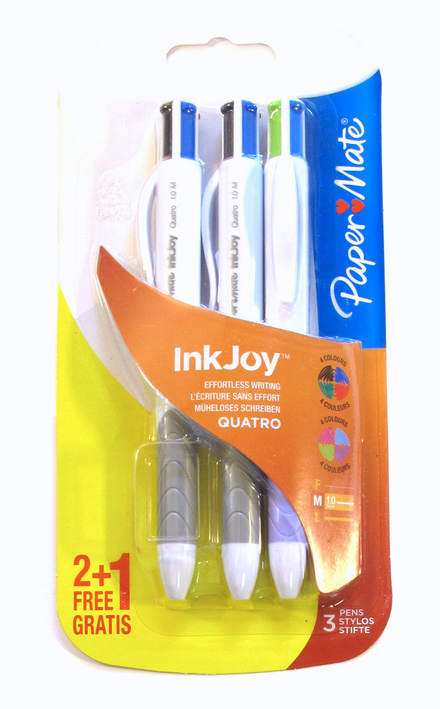 Papermate Inkjoy Quatro Multi Colored Ballpoint Pens Pack of 3 - PensAndPencils.Net