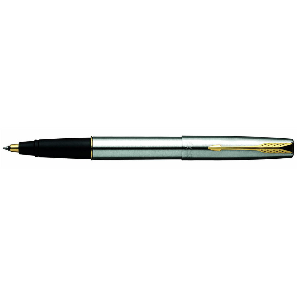 Parker Frontier Stainless Steel Gold Trim Rollerball Pen Made In France
