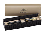 Parker IM Black Gold Trim Fountain Pen Medium Nib in Parker Gift Box