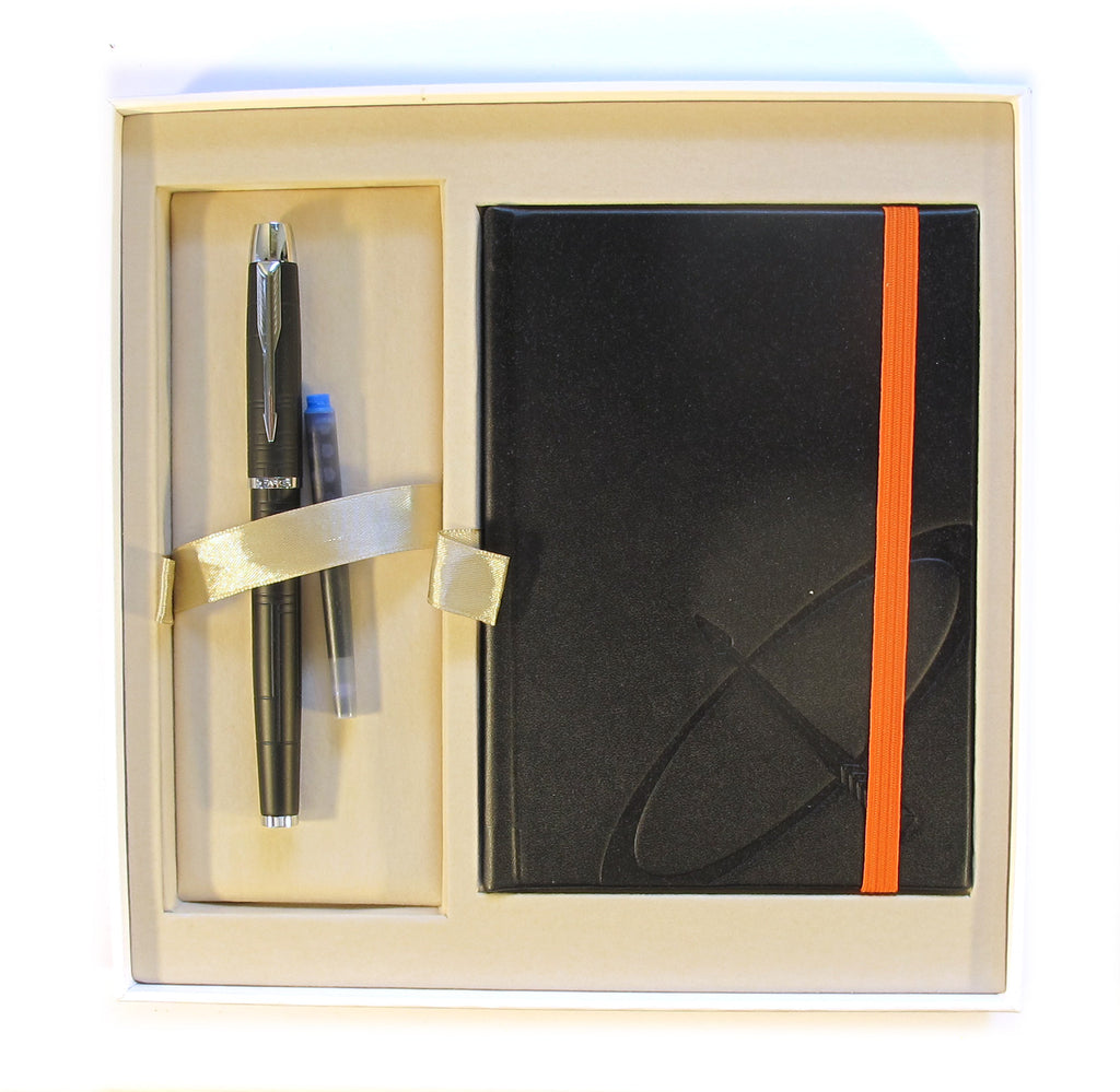Parker IM Premium Matte Black CT Fountain Pen Fine + Parker 125 Years Notepad Gift Set - PensAndPencils.Net