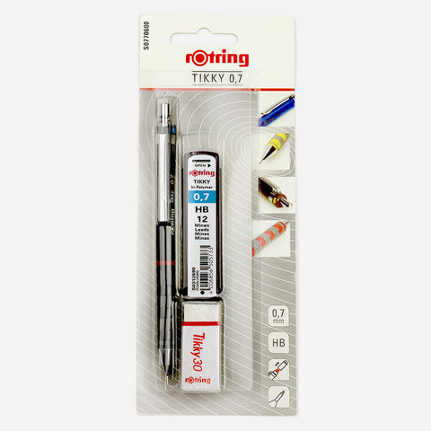 Rotring Tikky 0.7mm HB Mechanical Pencil With Extra Lead Refills and Tikky 30 Eraser