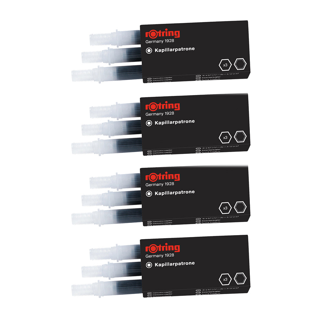 Rotring Rapidograph Ink Cartridges Black S0194640 Pack of 12 Capillary Cartridges  PensAndPencils.Net