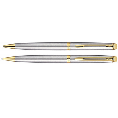 Waterman Hemisphere Stainless Steel Gold Trim Pen And Pencil Set  Waterman Pen And Pencil Sets
