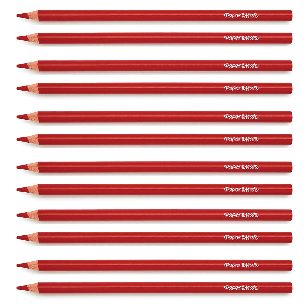 Paper Mate Colored Pencils Red Pack of 12 (Writes Red)  Paper Mate Pencils