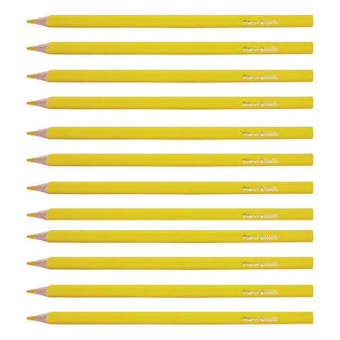 Paper Mate Yellow Colored Pencils Pack of 12 (Writes Yellow)  Paper Mate Pencils