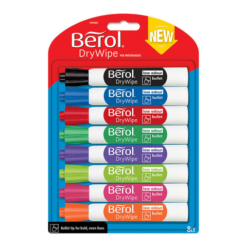 Berol Dry Wipe Markers Assorted Colors Low Odor Bullet Tip - 8 Count  Expo Dry Erase Markers