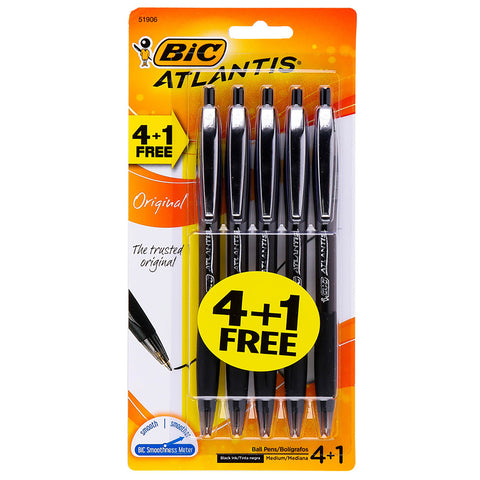 Bic Atlantis Original Black Ink Medium Retractable Ballpoint Pens Pack of 5