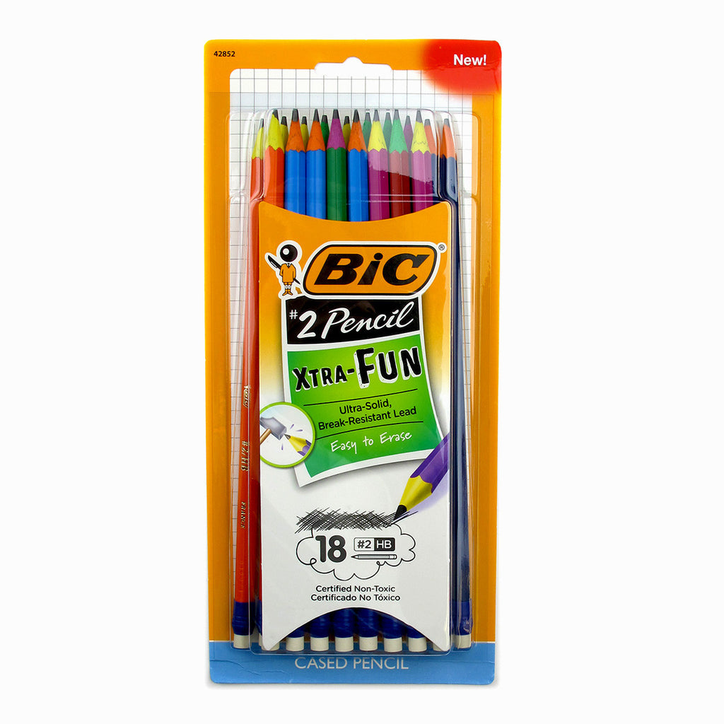 Bic Xtra Fun HB #2 Pencils For Kids Colorful Barrels Certified Non Toxic Pack of 18