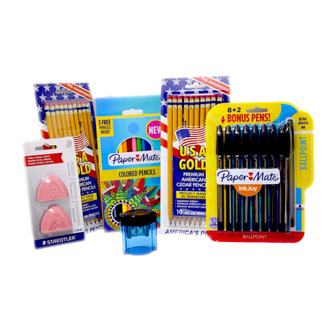 Back To School Combo Deal, 10 Pens, 20 Pencils, 2 Erasers 15 Colored Pencils and Blue Sharpener  Paper Mate Pencil