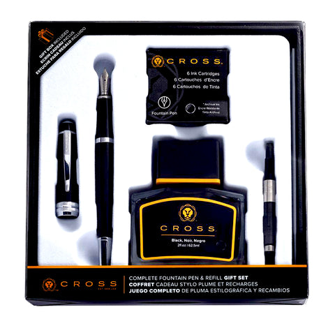 Cross Bailey Rich Black Lacquer Fountain Pen and Ink Well + Converter And Ink Cartridges Gift Set