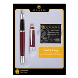 Cross Bailey Fountain Pen, Lacquer Red with 6 Ink Cartridges