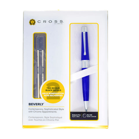 Cross Dark Blue Ballpoint Pen, Beverly Collection + 2 Refills  Cross Ballpoint Pen