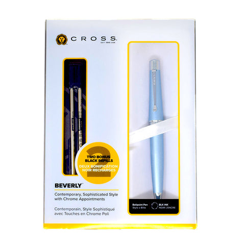 Cross Beverly Metallic Light Blue Ballpoint Pen, Black Ink + 2 Refills  Cross Ballpoint Pen