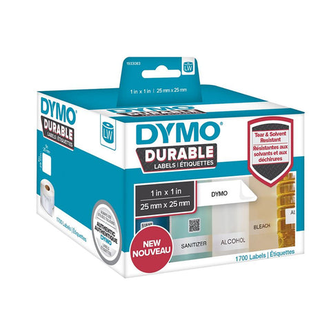 "Dymo LW Durable 1"" x 1"" White Poly, 1700 labels"