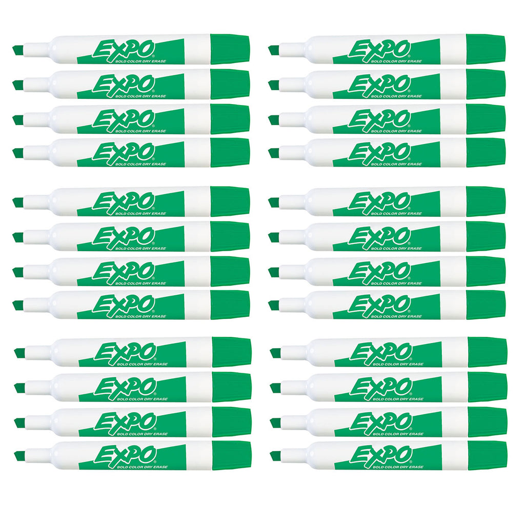 Expo Dry Erase Green Marker Chisel Tip Low Odor  83004 - Bulk Pack of 24  Expo Dry Erase Markers