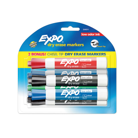 Expo Low Odor Chisel Markers Assorted Colors 6 Count  Expo Dry Erase Markers