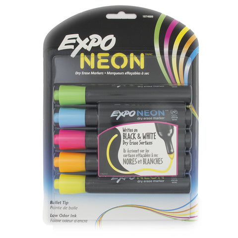 Expo Neon Dry Erase Markers For Black or White Dry Ease Boards Pack of 5  Expo Dry Erase Markers