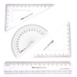 Faber Castell Mathematical Drawing Instrument Set, 180 Degree Protractor,  60, 90, 30 Set Square, 45, 90 Degree Set Square and 1 15 CM Ruler (Centimeters)  Faber Castell Mathematical Instruments