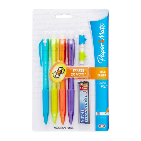 Paper Mate Quick Flip Mechanical Pencils 0.7mm Pack Of 4 + 12 Leads, Eraser Refills  Paper Mate Pencil
