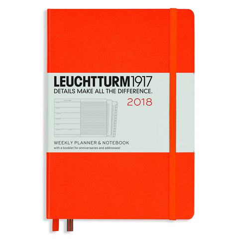 Leuchtturm 1917 2018 Weekly Planner with Notes A5 Medium Orange
