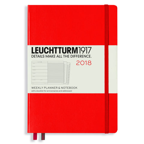 Leuchtturm 1917 2018 Weekly Planner with Notes A5 Medium Red