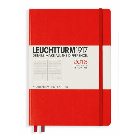 Leuchtturm1917 2017-18 Academic 18 Month Weekly Planner A5 Red Medium Size 5.7 by 8.2 Inches 355271  Leuchtturm1917 Planner