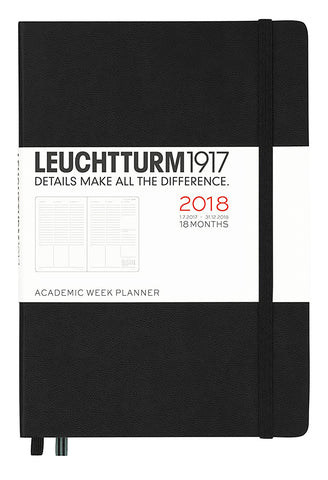 Leuchtturm1917 2017-18 Academic 18 Month Weekly Planner A5 Black Medium Size 5.7 by 8.2 Inches