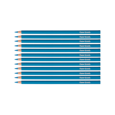Paper Mate Colored Pencils Light Blue Pack of 12 (Writes Light Blue)  Paper Mate Pencils
