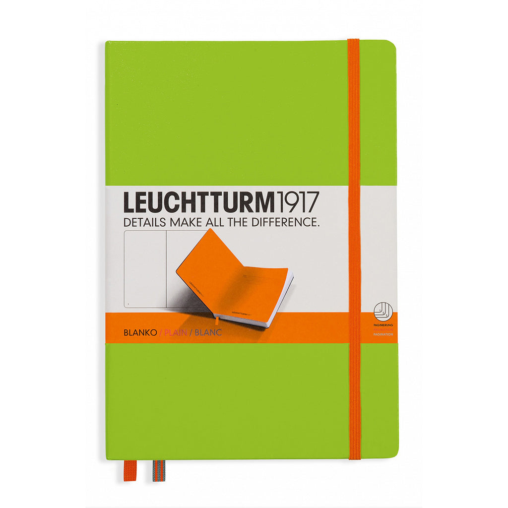 Leuchtturm1917 Lime Blank Notebook Medium A5 Hardcover with Orange Elastic Enclosure