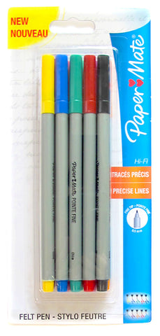 Papermate Hi-Fi Ultra Precise Felt Tip Fine Point Marker Pens 10 Assorted Colors Use for Adult Coloring Books