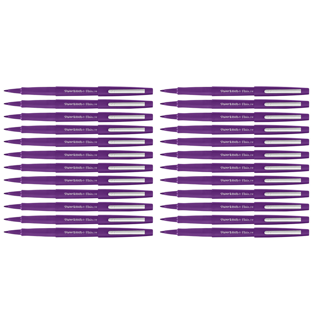 Paper Mate Flair Purple Felt Tip Pen Medium, Point Guard Bulk Pack of 24  Paper Mate Felt Tip Pen