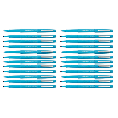 Paper Mate Flair Sky Blue Felt Tip Pen Medium, Original - Bulk Pack of 24