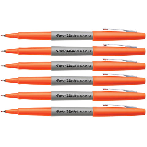 Paper Mate Flair Orange Ultra Fine Felt Tip Pens Pack of 6